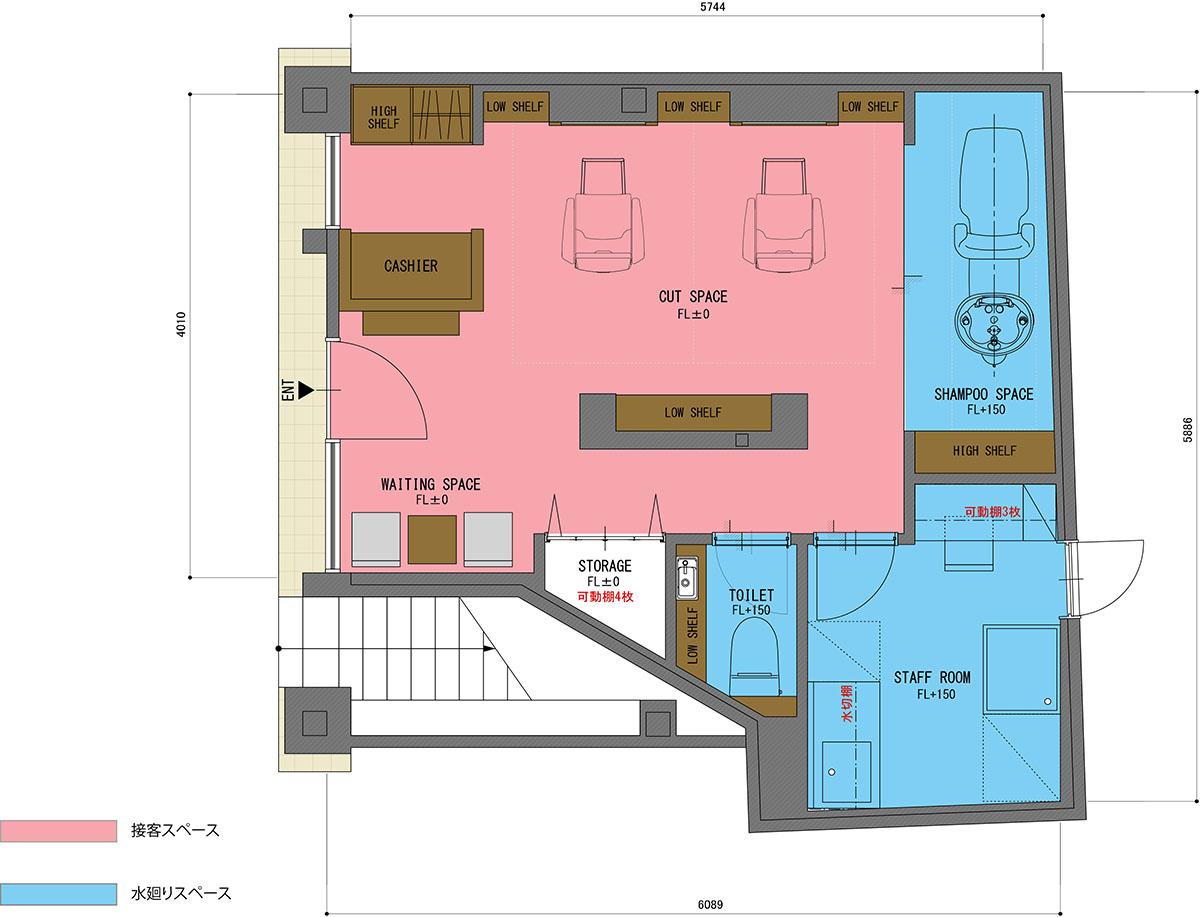 店舗デザイン・店舗設計した美容室の平面図