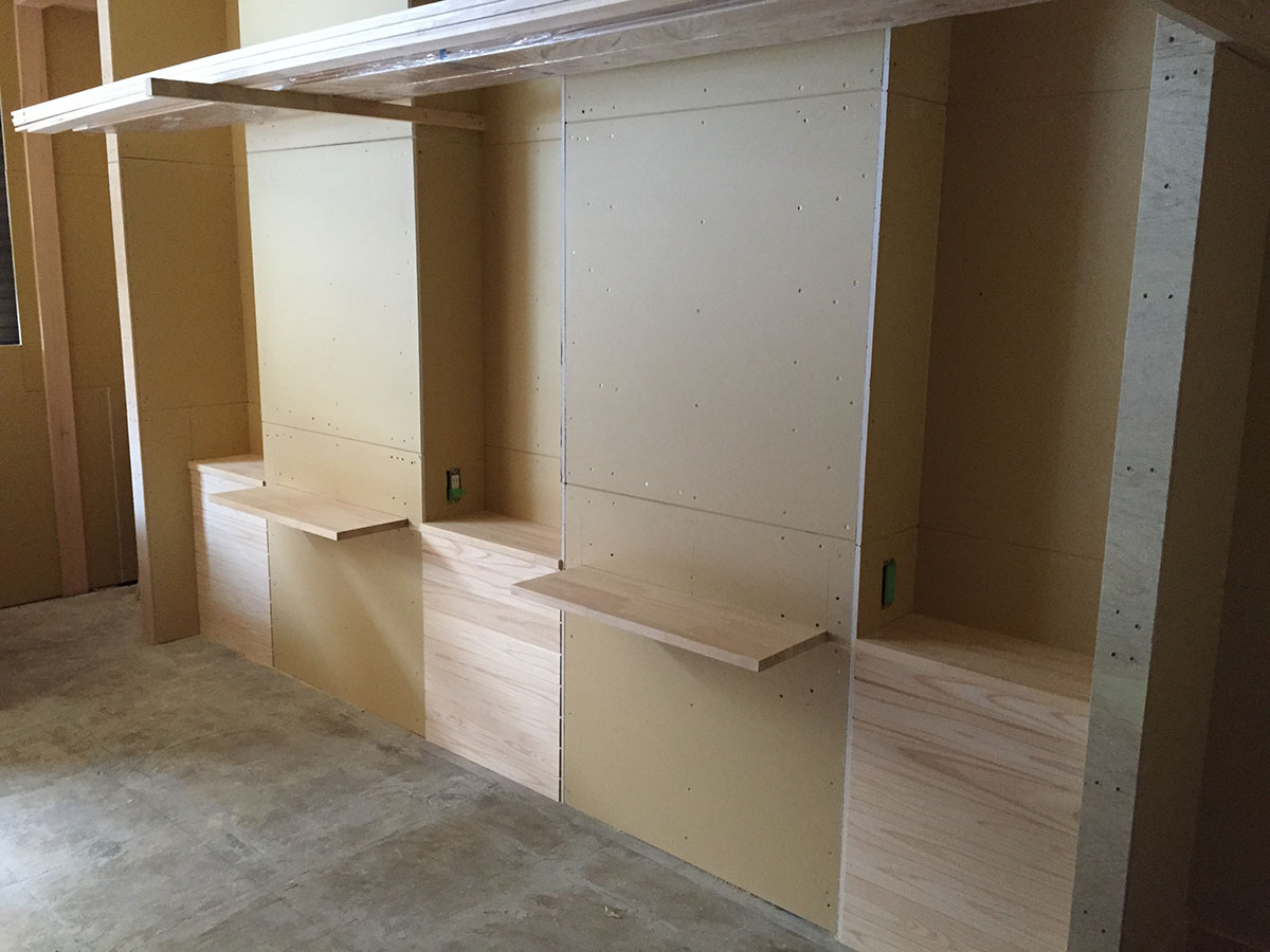 内装工事・改装工事した美容室のミラー工事