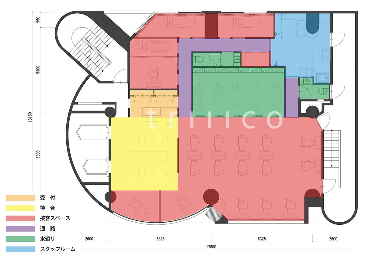 大阪市中央区心斎橋の美容室・理容室のプランニング・平面図