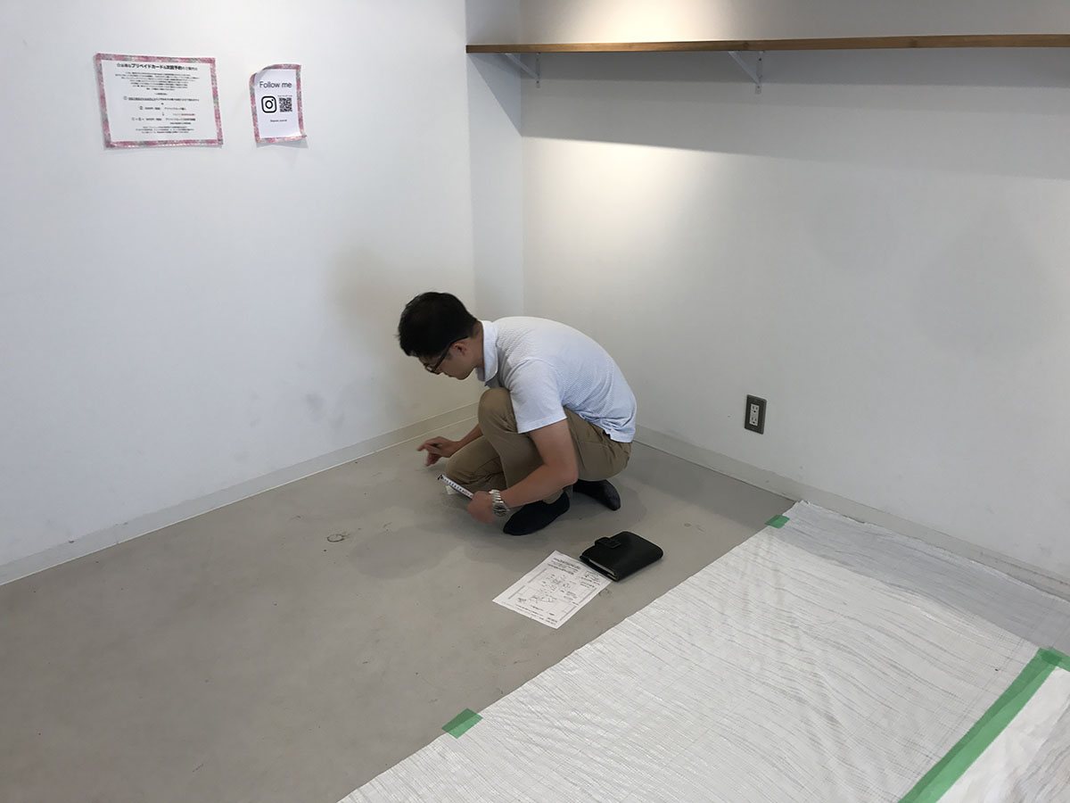 三田市美容室の墨出し作業