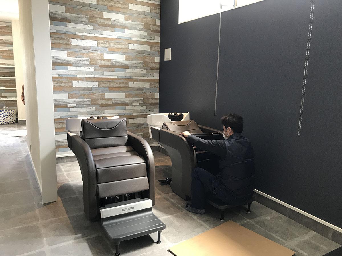 兵庫県三木市の美容室・理容室のシャンプー台の取付工事